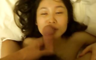 Cute Asian honey got brutally fucked and tastes his dick