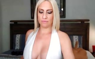 Naughty blonde ex-girlfriend with big tits playing with slit