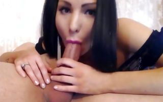 Sexy brunette girlfriend making deep blowjob for horny guy