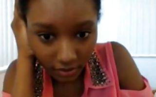 Cute Ebony girlfriend with amazing titties fingering wet muff
