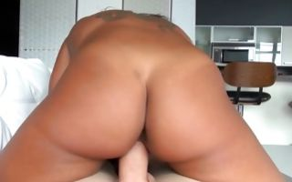 Tremendous Ex-GF Aoki Kalani riding on big heavy pecker