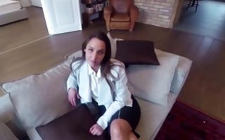 Stunning brunette girlfriend Amirah Adara riding on ramrod
