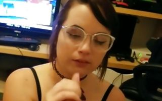 Watch my GF in glasses nicely licking and sucking pecker