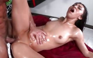 Lubed babe Kara Faux gets that wet cunt hole destroyed hardcore